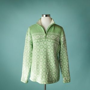 LL Bean L Green Fair Isle Nordic 1/4 Zip Sweater